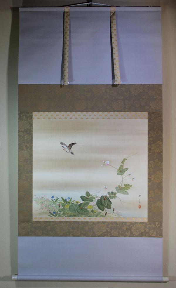 掛軸五】[望月玉成][春郊雲雀図]|掛軸専門店 古美術 高美堂